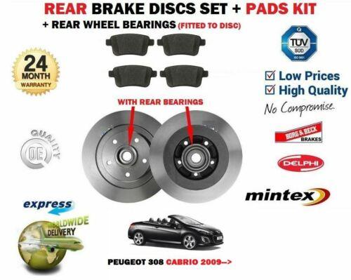 BEARINGS FOR PEUGEOT 308 CABRIOLET 2009-/> REAR BRAKE DISCS SET DISC PADS KIT