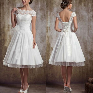 Image Is Loading New White Short Lace Wedding Dress Bridal Gown
