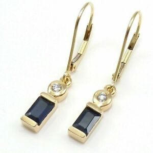 1-00-Ct-Blue-Sapphire-Lever-back-Drop-Dangle-Earrings-14K-Yellow-Gold-FN