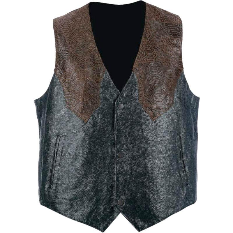Men's Western Two-Tone Genuine Leather & Faux Snakeskin Motorcycle Biker Vest