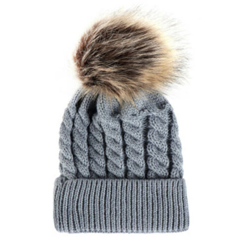 Newborn Kids Baby Boy Girl Double Fur Pom Hat Winter Warm Knit Bobble Beanie ZTL