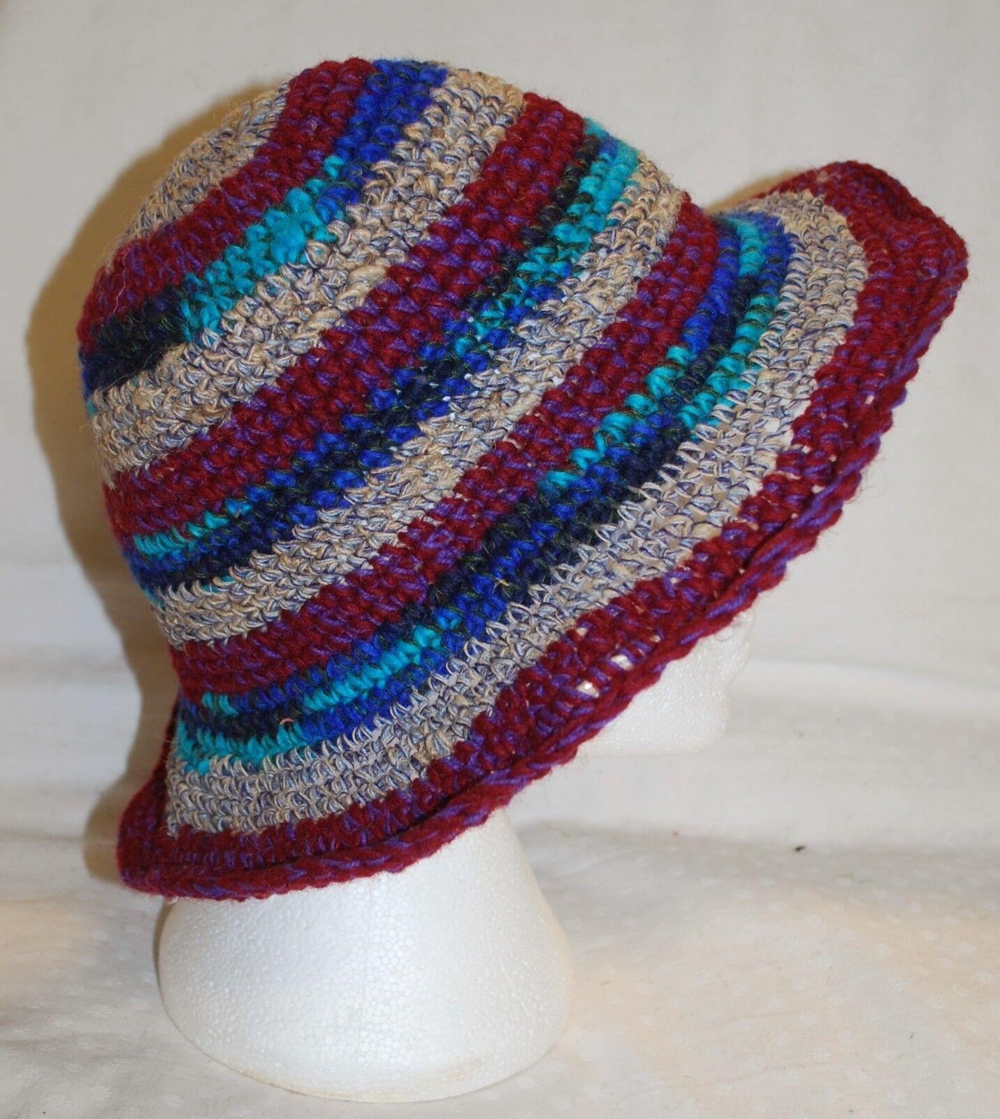 Nuevo Sombrero de comercio justo-étnico hippy boho Nepal Algodón Tejido éticas de cáñamo