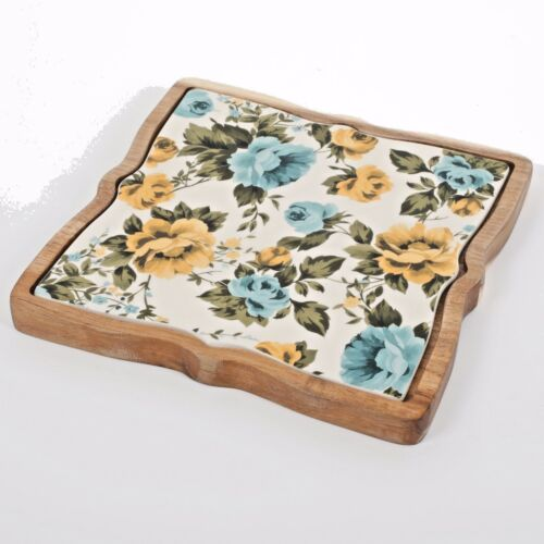 The Pioneer Woman Rose Shadow 9-Inch Trivet Wood Base Ceramic Floral Insert