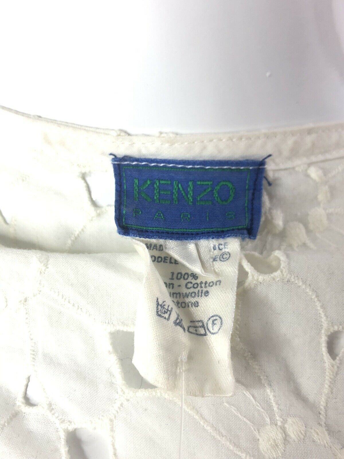 Vintage Kenzo 70s  Sheer Floral Lace Top XS - image 4