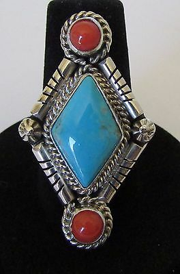 Native American Navajo Turquoise & Coral Ring Size 8.5 Signed Running Bear