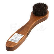 1Pc Wood handle bristle horse hair brush shoe boot polish shine cleaning dauberX