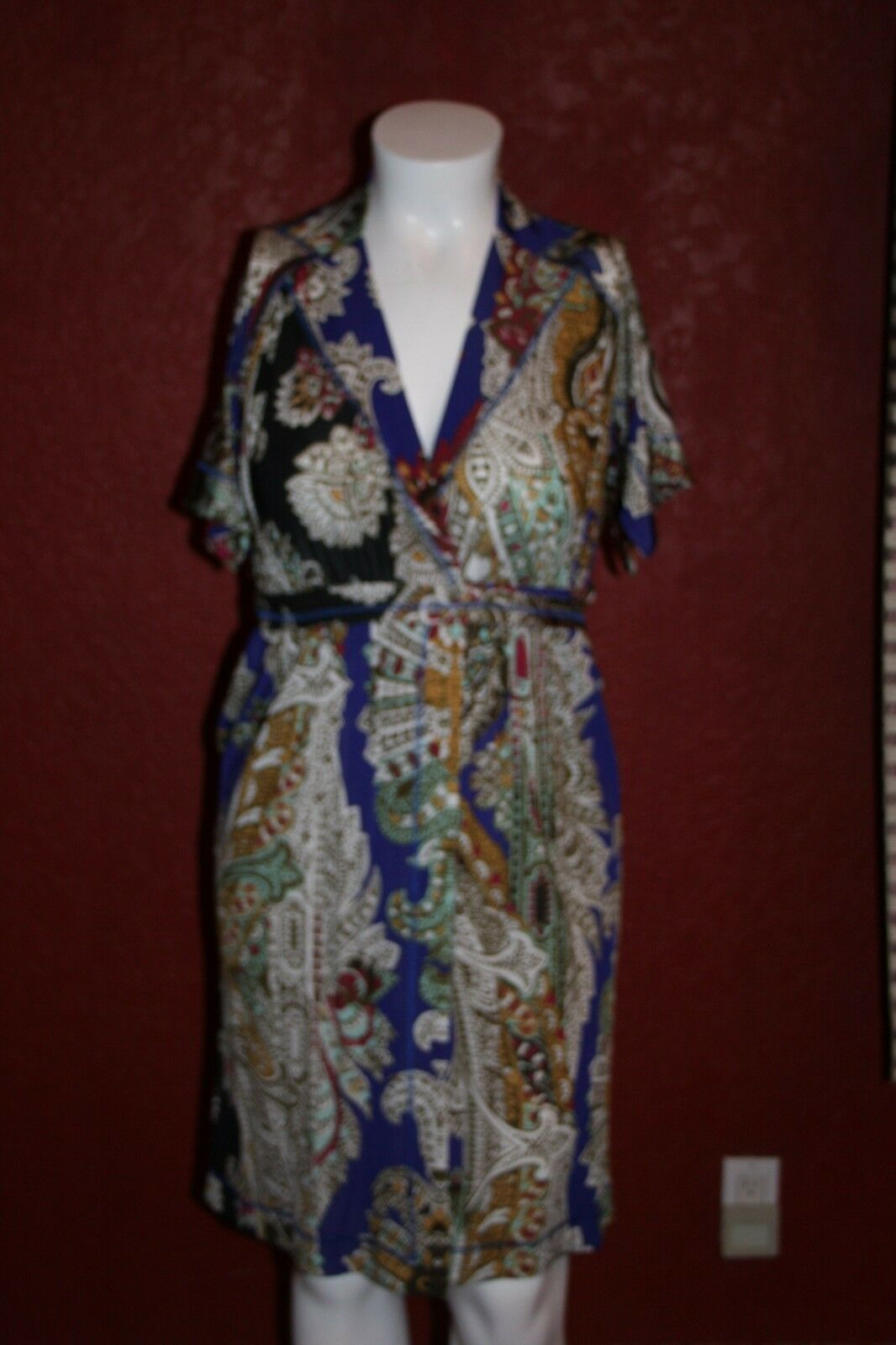 NWT JUST CAVALLI FLORAL WRAP Dress KnEE LinGTH kort SLEEVE STRETHY IT 42
