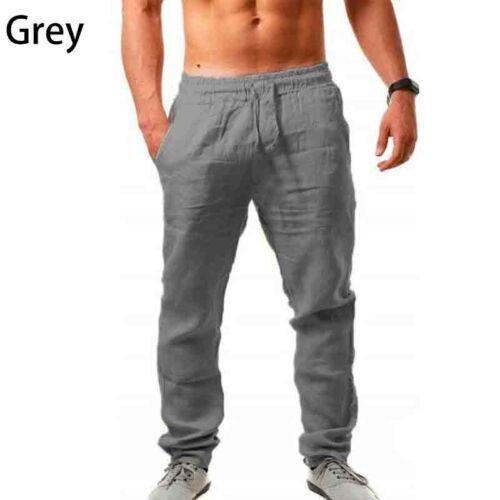 Mens Drawstring Casual Linen Baggy Yoga Pants Loose Straight Beach Long Trousers