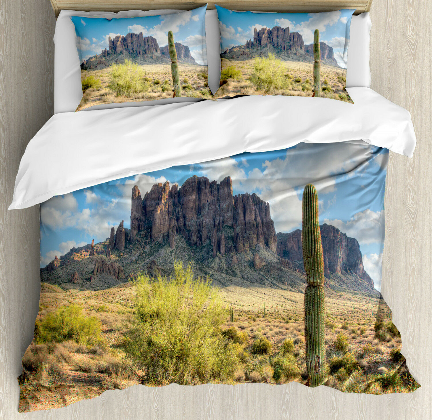 Nature Duvet Cover Set with Pillow Shams Canyon Cloudy Cliff Print