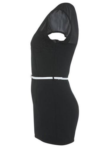 NEW sz 10 Miss Selfridge BLACK MESH YOKE BODYCON MINI PLAYSUIT DRESS 3dayOFFER