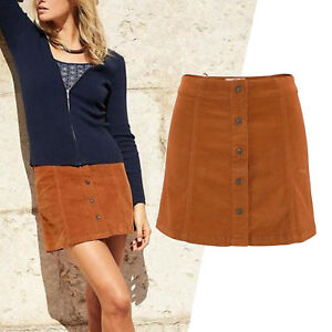 wow-Cord-ROCK-Mini-Kord-Retro-70er-Gr-40-L-COGNAC-SKIRT-Kordrock-kurz-STRETCH