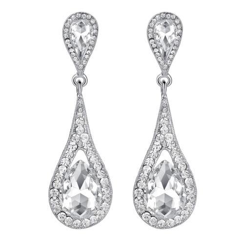 Mecresh Women Clear Crystal Big Teardrop Dangle Earrings Bridal Wedding Jewelry
