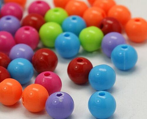 50 unidades acrílico perlas 8mm fädelloch 1,6mm hermosas kräfige colores bricolaje joyas