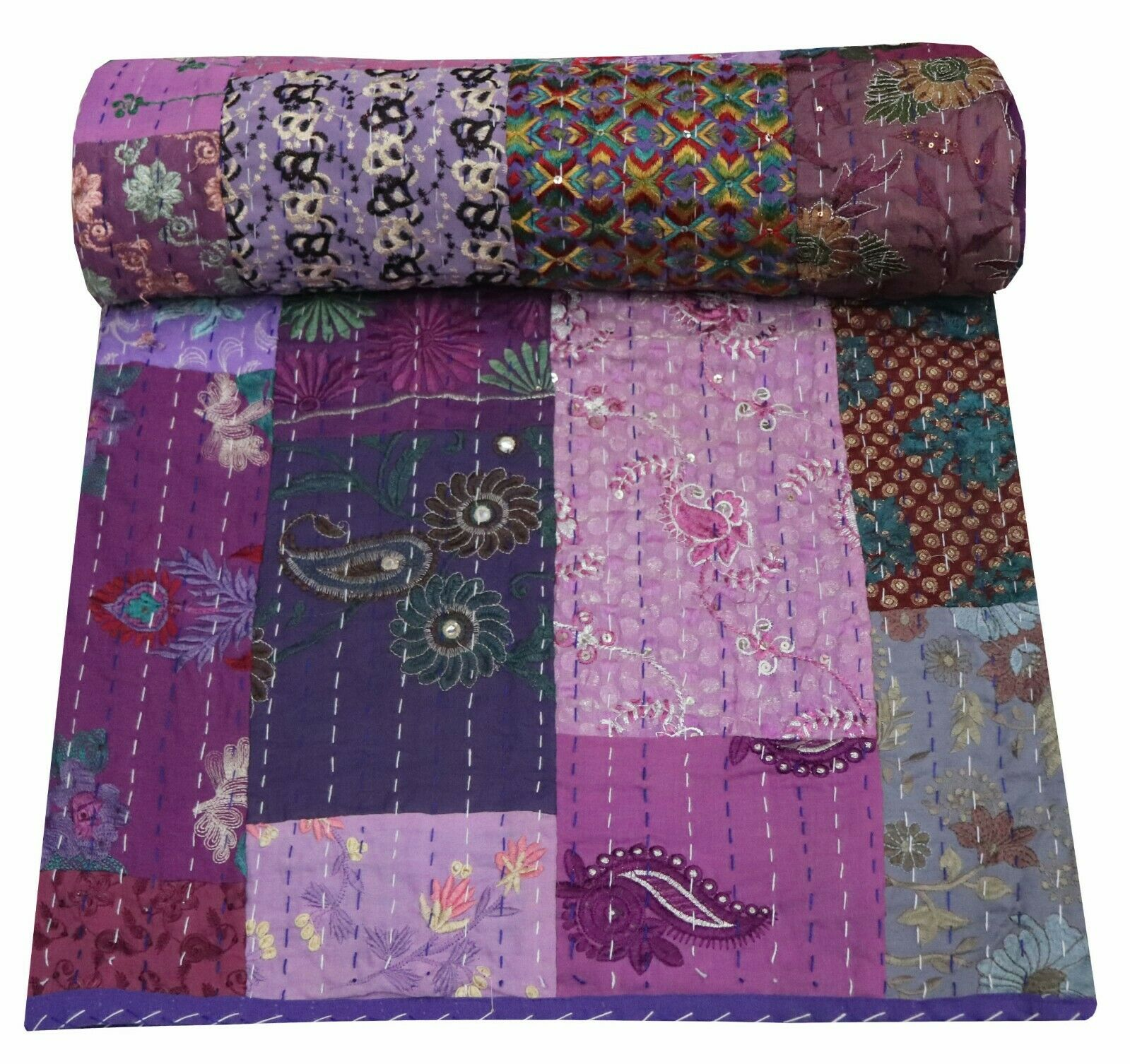 Indian King Reversible Patchwork Kantha Quilt Queen Bedding Blanket Queen Throw