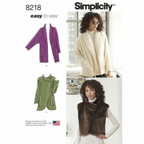 Simplicity Easy Sewing Pattern 8218 Misses Jackets & Vest Xs-xl