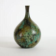 Mid Century Bronze Vase Japan Patinated Green Blue Verdigris Japanese Vtg