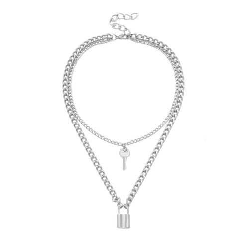 Punk Goth Double Layer Long Chain Lock Key Pendant Choker Necklace Jewelry GDDE