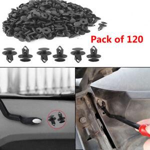 120 Pcs Black Plastic 8mm Hole Dia Car Door Fender Push Rivets Retainer Clips