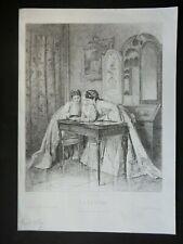 GRAVURE ANCIENNE 19e - LA LETTRE - 1869