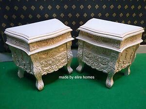 de antique afficher le Rococo 2 blanc chevet tables d'origine tables Détails titre casséCrèmeIvoire sur x Qtdrsh