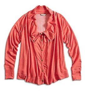 Have An Inquiring Mind Lucky Brand Xs Nwt$79 Nectar Orange Drapey Snap Active Knit Cardigan Jacket Nourishing Blood And Adjusting Spirit