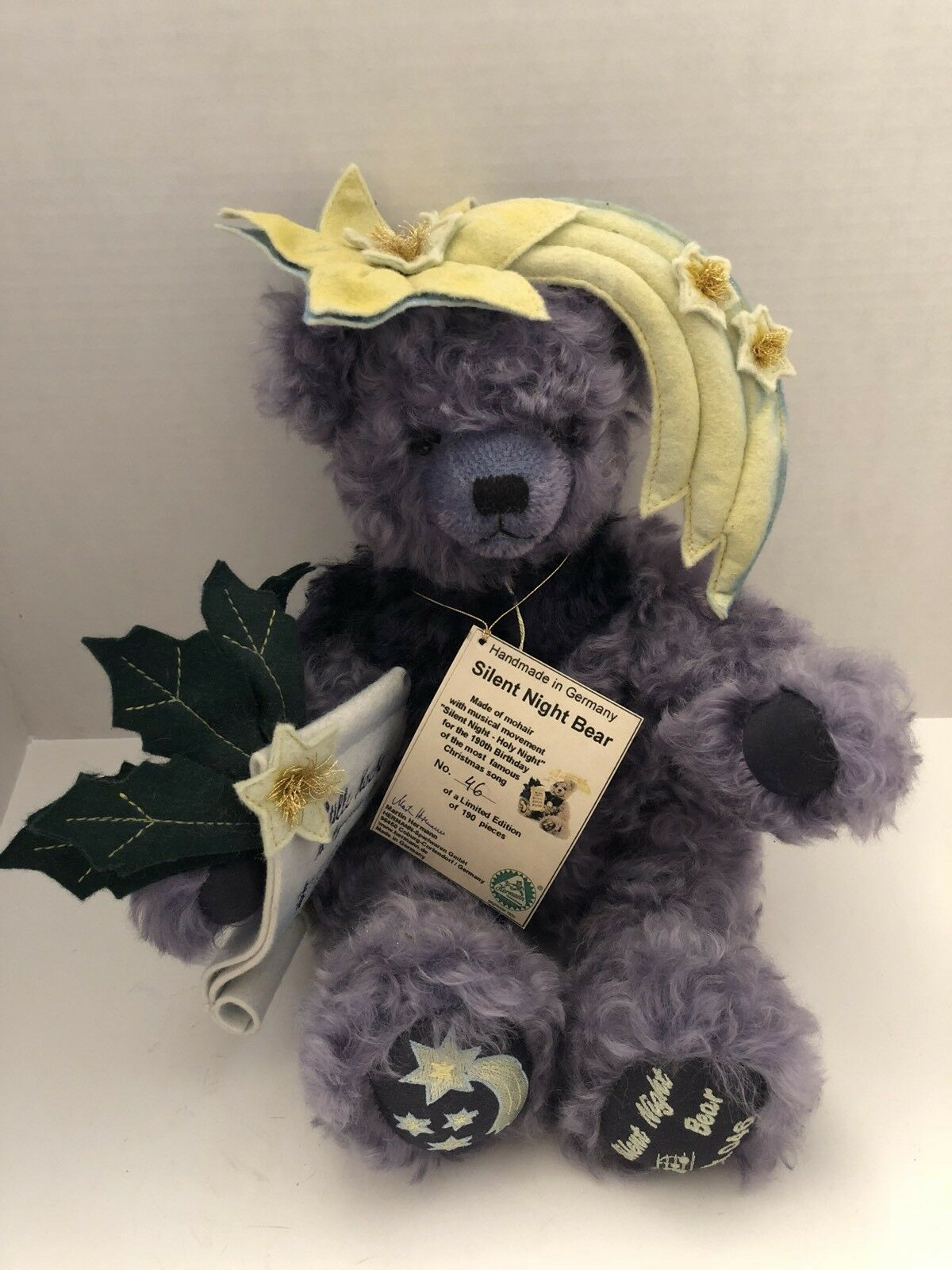 Very Rare Hermann Limited Edition Silent Night Bear Plays Song Handmade Germany