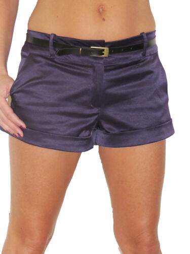 L Donna Estate hot pants pantaloncini raso lucido Alzare Taglie da donna NUOVO 8-16