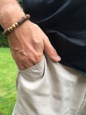 Men's  Brown Shell Elasticated Bracelet With Jasper Gemstone Beads Surfer Beach