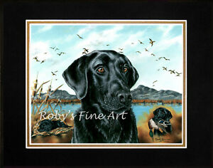Matted-Black-Lab-Art-Print-Duck-Hunting-Dog-034-One-More-Year-034-by-Roby-Baer-PSA