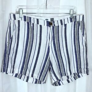 2ed8d53bfb Old Navy Womens Shorts Size 10 Linen Blend Chinos Blue Striped Flat ...