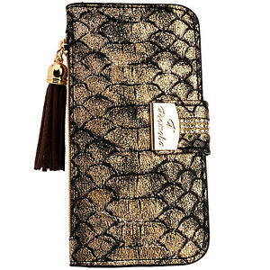 Womens SnakeSkin GOLD PU Leather Flip Wallet Case Card Holder iPhone ... d05ab29249