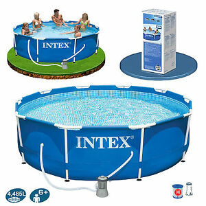 Intex 10ft x 30 metal frame swimming pool set filter pump dvd garden ebay for 10ft swimming pool with pump and cover