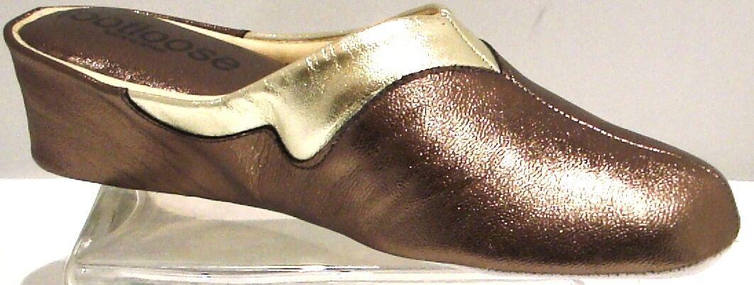 Zeppa in pelle Pantofole SPAGNOLO 2 Peltro tono platino spregiudicata da RELAX COMFORT