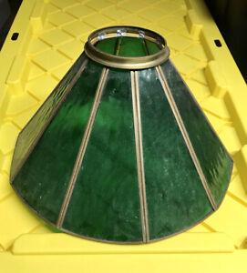 Antique vitraux abat-jour vert laitier Panneaux De Verre Rond Col huile légère
