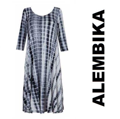 ALEMBIKA D858 Viscose Jersey MAXI 3//4 SLV DRESS Long A-Line SPRING 2018 TIE-DYE
