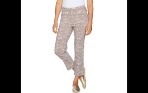 Susan Graver Printed Stretch Woven Crop Pants Dark Wheat Reg 14 A289432 QVC J