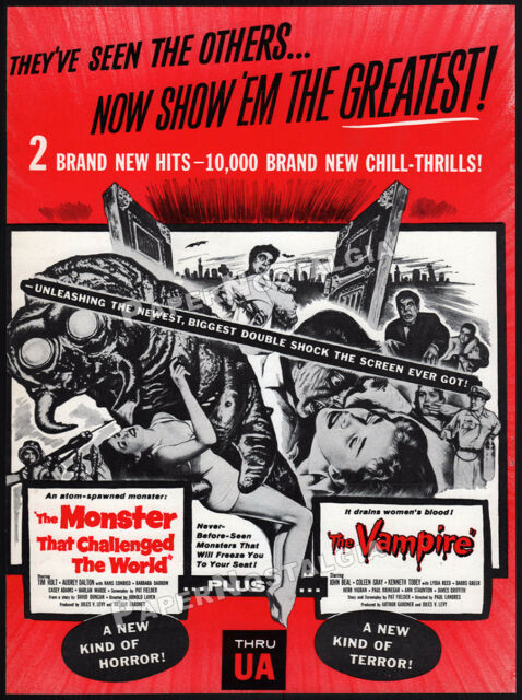 MONSTER THAT CHALLENGED THE WORLD_/_THE VAMPIRE__Original 1957 Trade AD / promo