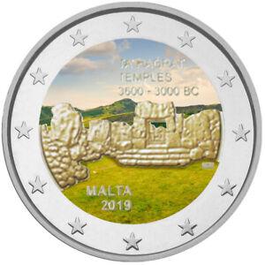 2-Euro-Gedenkmuenze-Malta-2019-Ta-Hagrat-coloriert-mit-Farbe-Farbmuenze-1