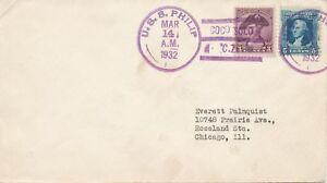 USA-1932-Schiffspostbeleg-m-violett-Schiffspost-Stpl-U-S-S-WICKES-COCO-SOLO