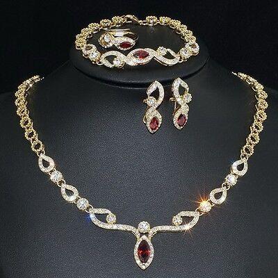 V461 S. Crystal 18K GP Red CZ Earrings Bracelet Necklace Set Ring Size 7