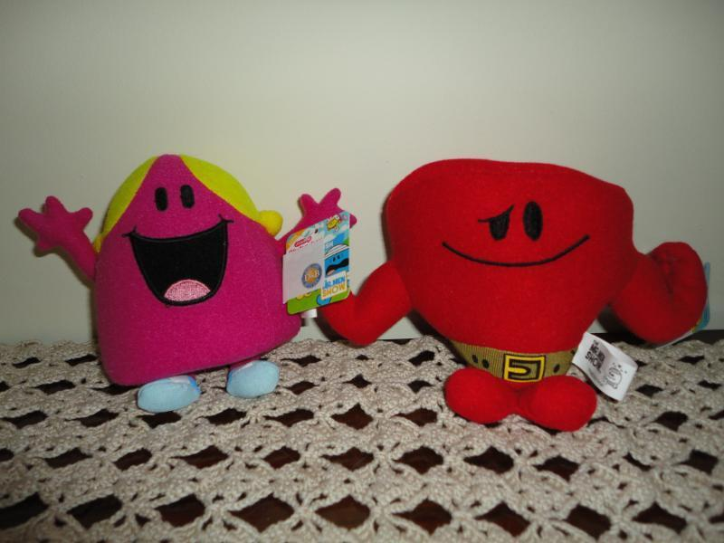 Cartoon Mr Men Show Mr. Strong and Miss Chatterbox Dolls