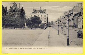 cpa-Normandie-61-ALENCON-Orne-Rue-de-BRETAGNE-et-place-d-039-Armes