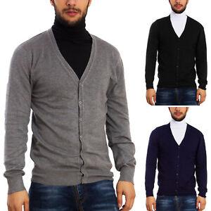 Dettagli su Cardigan uomo basic maglione giacca pullover TOOCOOL maniche lunghe bottoni D312