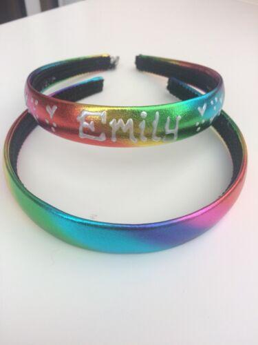 Personalised Girls Rainbow 2cm headband//hairband//alice band Christmas ANYNAME