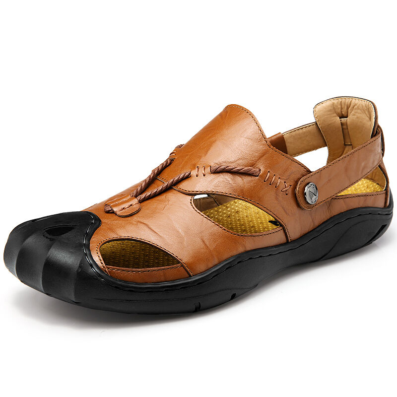 Men Summer Genuine Leather Sandals Closed Toe Outdoor Fisherman Trail Beach shoes