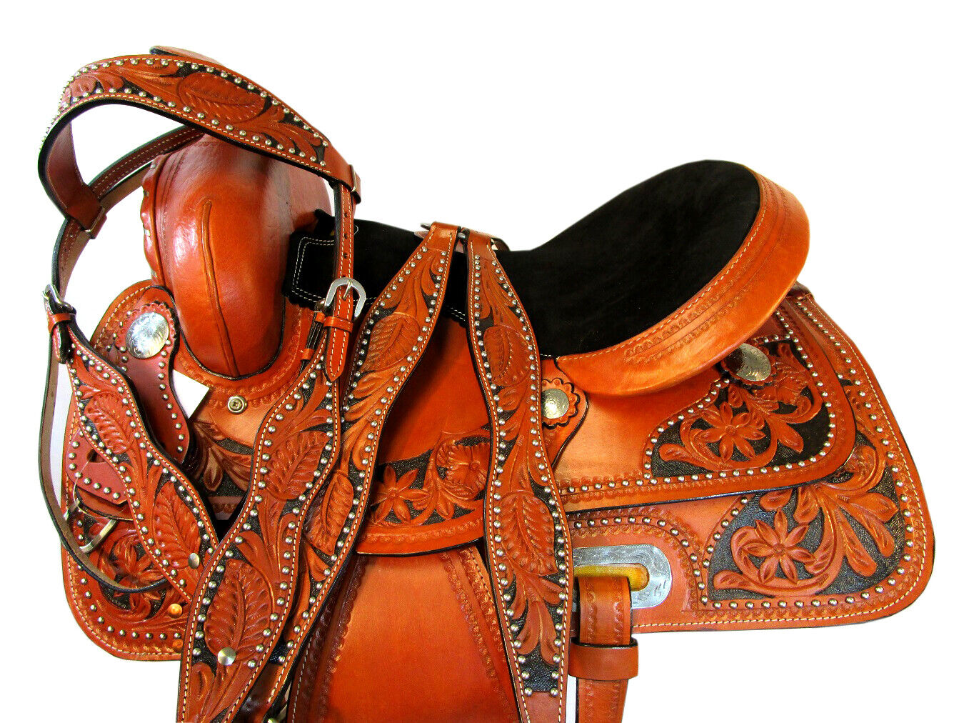 SQHB LEATHER STUDDED HANDCRAFTED CLASSIC 15  16  SADDLE SHOW RODEO FLORAL
