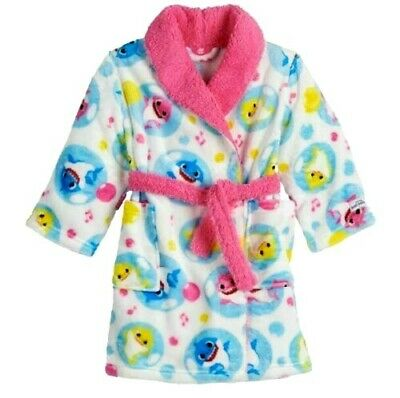 Baby Shark Doo Soft Plush Bath Robe Bathrobe Pajama Cover Pinkfong 3T 4T NWT