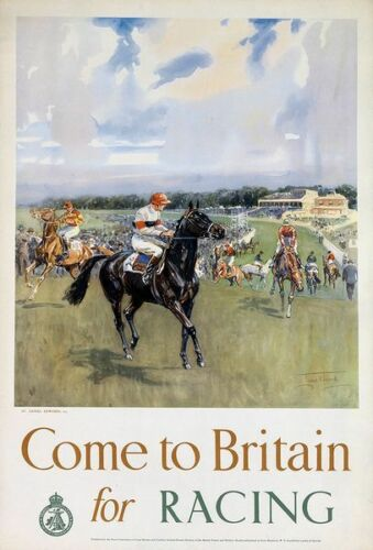 Vintage British Tourism Horse Racing Poster  A3 Print