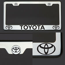 Chrome T304 SS License Plate Frame Tag Toyota Black Letter Laser Etched Engraved