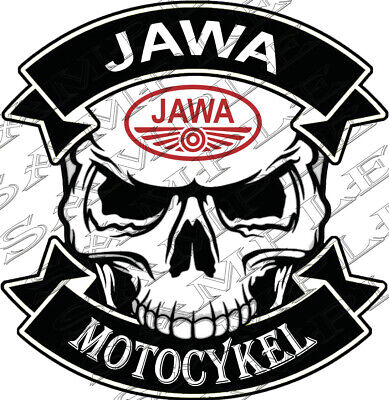 #40 - Skull Jawa Motocykel 9,5x9 Cm! Adesivo Autocollant Sticker Tuning Moto-